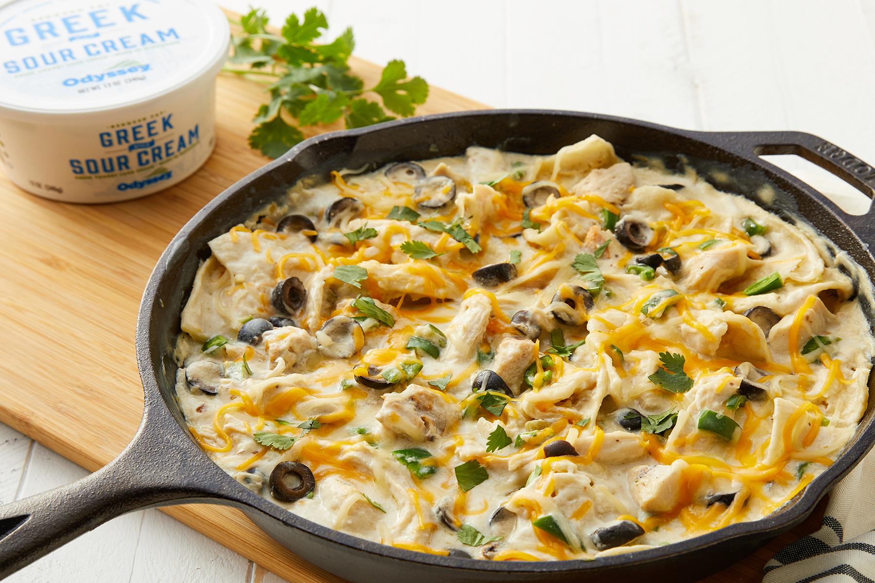 Greek Sour Cream Chicken Enchilada Skillet